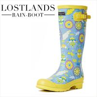 Flowers handsome lostlands 2 women's rain boots women's gaotong rainboots fashion spring