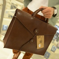 Men's Retro Handbag Briefcase Vintage Hard Shoulder PU Bag Portfolio Tote Brief Case S188