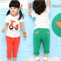 free shipping.Cartoon Motorcycle sleeved suit Children's summer short-sleeved sets