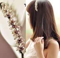 Min.order is $10(mix order)Fashion Lovely Sweet Small beaded Pearl Hair Band Bride/Princess Hairwear/Hair Accessories
