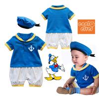2013 Wholesale 2-pcs Cartoon Donald Duck casual baby boy's suit (short-sleeve romper+blue hat),3 set/lot Free Shipping