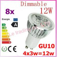8pcs Dimmable GU10 4X3W 12W 4-CREE LEDS Led Lamp Spotlight 85V-265V Led Light downlight High Power free shipping