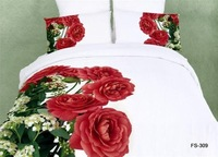 Fedex Free Shipping Big Red Flower Patter 3D Painting 100% cotton hot selling 4pcs bedding sets