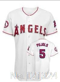 black white red LA Angels of Anaheim #5 Albert Pujols adult men Baseball Jerseys name nad nmuber sewn on Free shipping(China (Mainland))