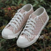 Free shipping 2013 Low Canvas Shoes Dot Lace Women's Fashion Sport Shoes