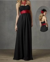 Sweetheart black chiffon hot red bridesmaid dress