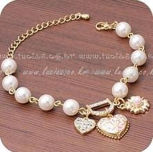 Fashion Jewelry Bohenmia Heart&D with Floral imitation Pearl Love Heart Bracelets Bangles XY-B38(China (Mainland))
