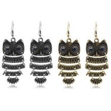 (Min order$10) Fashion 2 colors vintage Owl earrings Discount earrings Discount jewelry +Free shipping
