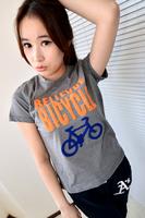 Fashion all-match 2013 yarn letter bicycle 100% T-shirt women's short-sleeve cotton t-shirt