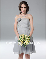 Gorgeous Silver Chiffon Strapless Knee Party Dresses Cocktail Dress Evening Dress Prom Dress Custom SZ 2-10 12-20 QP606105