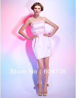 Gorgeous Pink Satin Strapless Mini Party Dresses Cocktail Dress Evening Dress Prom Dress Custom SZ 2-10 12-20 QP606106