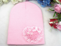 New arrival!Free shipping! Heart cap knitted hat warm hat cap covering toe cap baby hat child hat for 1-5years old