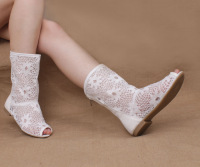 Free shipping Spring and summer cool boots open toe cutout flat gauze single boots breathable boots low-heeled boots