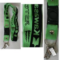 For Kawasaki motorcycle key chain, kawasaki mobile phone chain, green elastic chest card  free shipping