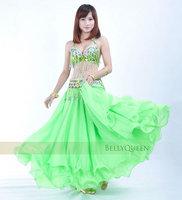 BELLYQUEEN~Performance Belly Dancing Set,#840 Professional Belly Dance Costume 3Pcs Bra&Belt&Skirt Apple Green Color in Stock