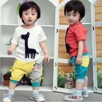 wholesale baby Clothing Sets children suit  short sleeve T-shirt +pants giraffe 2pcs kids boys summer Clothes wear 4 Sets/lot