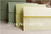 100g Linen Paper, Green, Light Green, Light Yellow For Your Choice. High Quality, Wedding &  Business Envelope, 17.5*12.5cm