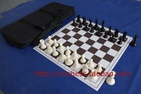 Free Shipping Chess Set Heavy  Weight Standard Chess Set with Chessboard and Canvas Bag King Height 97mm 4 Queens