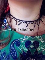 Beauty fashion vintage luxury handmade black lace tassel collar teardrop necklace steampunk necklaces & pendants for woman
