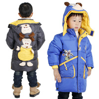 Male child down wadded jacket down winter cotton-padded jacket medium-long children's clothing cotton-padded jacket outerwear