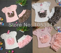 Girls Suits girls pink leopard Short sleeve T-shirt+leopard chiffon cake skirt Girls Dresses