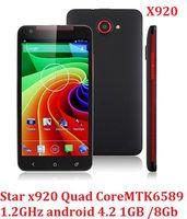 New arrival Star x920 mtk6589 quad core phone 5inch HD 1280x720 pixel 1GB RAM 4GB ROM wcdma android 4.2 WiFi Bluetooth GPS
