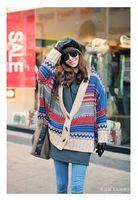 Free shipping 2014 New Fashion Autumn & Winter Horn bat sleeve cloak sweater plus size vintage knitting cardigan sweater coat