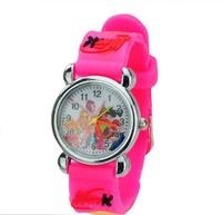 Free Shipping! Wholesale 1pcs pink 3D Cartoon Winx Club Children Kids Girls Boys Students Quartz Wrist Watches