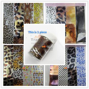 22 Mix Rolls Color Nail Art Transfer Foils Sticker Leopard Tiger Animal Styles Aluminum Adhesive Acrylic Gel Tips 4x150cm+Box