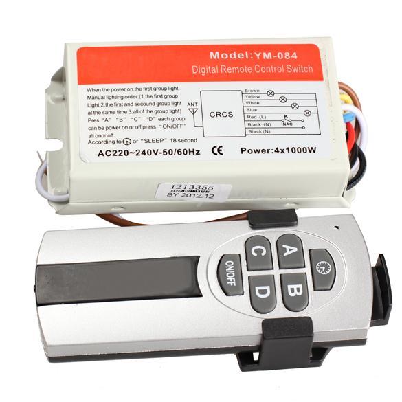 4 Ports Wireless Remote Control Digital Remote Control Switch Lightswitch K5BO(China (Mainland))