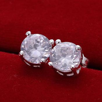 E096 925 silver earrings, 925 silver fashion jewelry, Round Crystal Earrings /basajrzasj
