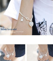 Free shipping  12pcs of E5090 South Korea full diamond love ballet shoes Korean Bracelet