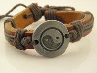 Wholesale Stylish Mens Tai chi Symbol Leather Hemp Braided Bracelets Best Gifts  Factory Price