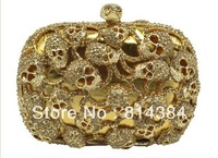Free Shipping!Unique skull crystal evening purse gold,red,dark grey luxury rhinstone clutch bag S08154
