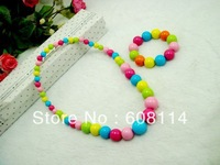 Free Shipping,Wholesale(24 sets/lot)Cute Kids Acrylic Bead Necklace and Bracelet Group