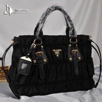 2013 leather pleated parachute cloth nylon female handbag messenger bag fashion bn1788