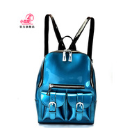 Hot selling Genuine leather women's handbag preppy style travel bag backpack cowhide candy color japanned leather backpack  mew