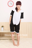 15 pcs/Lot Panda Cosplay Costumes Pyjamas Short Sleeve Hooded Kigurumi Anime Slee EMS