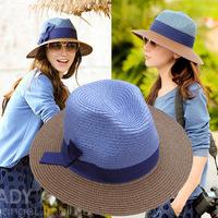 Fedoras color block decoration bow sunbonnet large brim straw hat female