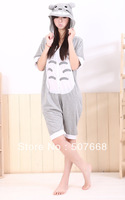 15 pcs/Lot Totoro Cosplay Costumes Pyjamas Short Sleeve Hooded Kigurumi Anime Sleepwear EMS