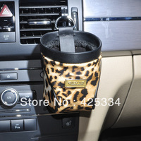 Free Shipping Leopard Leather Car Vehicle Air Vent Leather Drink Cup Bottle Holder Stand