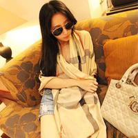 Super soft velvet big chiffon silk scarf georgette sun cape beach towel all-match fashion plaid