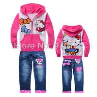 6sets/lot baby girls 100% cotton hello kitty children cartoon clothing sets kids hoodies coat+demin jeans sets children's suits