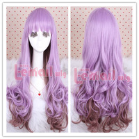 Harajuku lolita purple gradient blended-color long curly hair cosplay wig