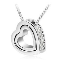 Holiday gifts, women jewelry wholesale crystal Heart pendant necklace-B117