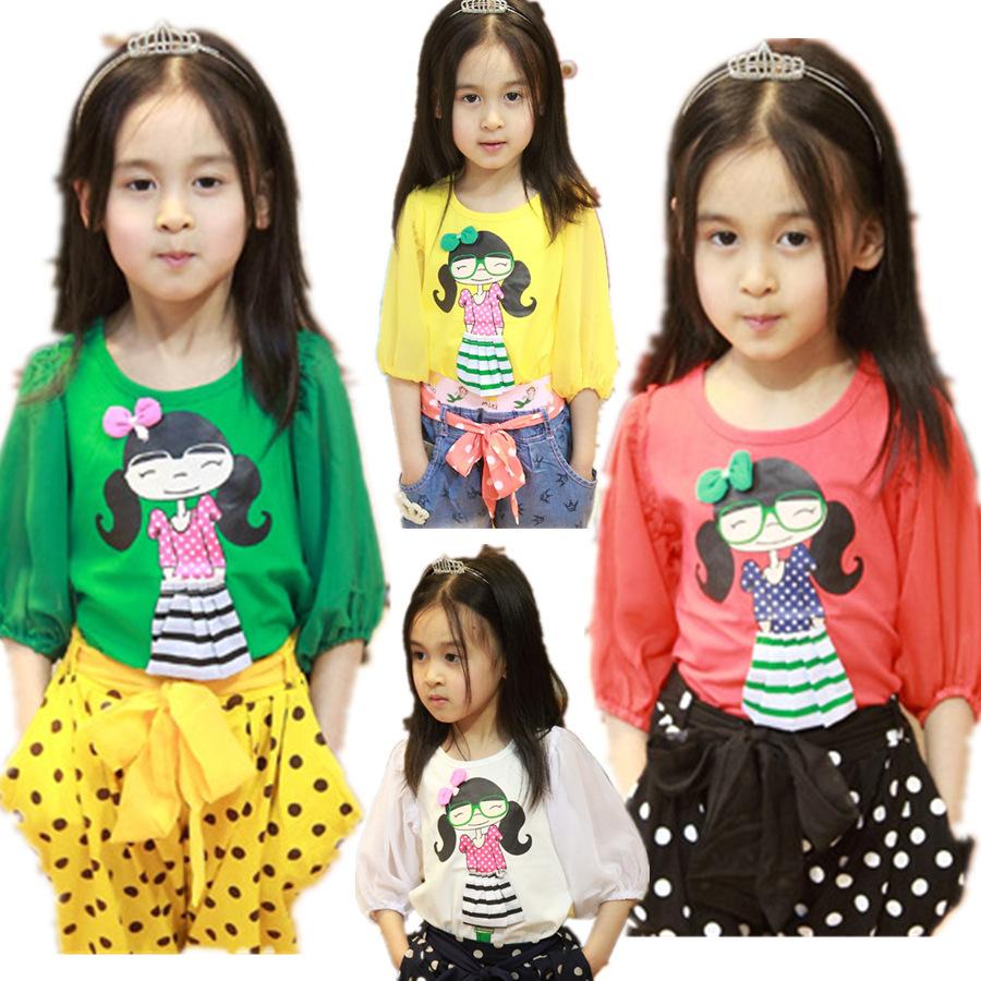 Hotsale Korean Style Girls Summer Three-quarter Chiffon T-shirts Children Girls Tops Undershirt  Factory Wholesale 5Pcs A Lot