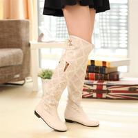 2013 high-leg cutout summer boots knee-length tall boots flat hole shoes female