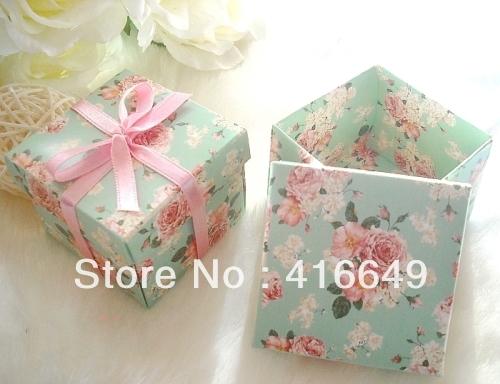 free shipping 100pcs Pink ribbon Green flower Paper DIY Favor Party gift box sweet candy box wedding boxes packaging(China (Mainland))
