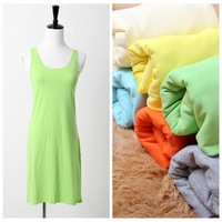 High quality combed cotton knitted elastic candy color basic tank dress slip slinky one-piece dress