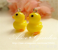 Free ship! *New* 50pcs/lot 1.8cm  cute yellow duck fit glass vials glass bottle glass vial glass bubble